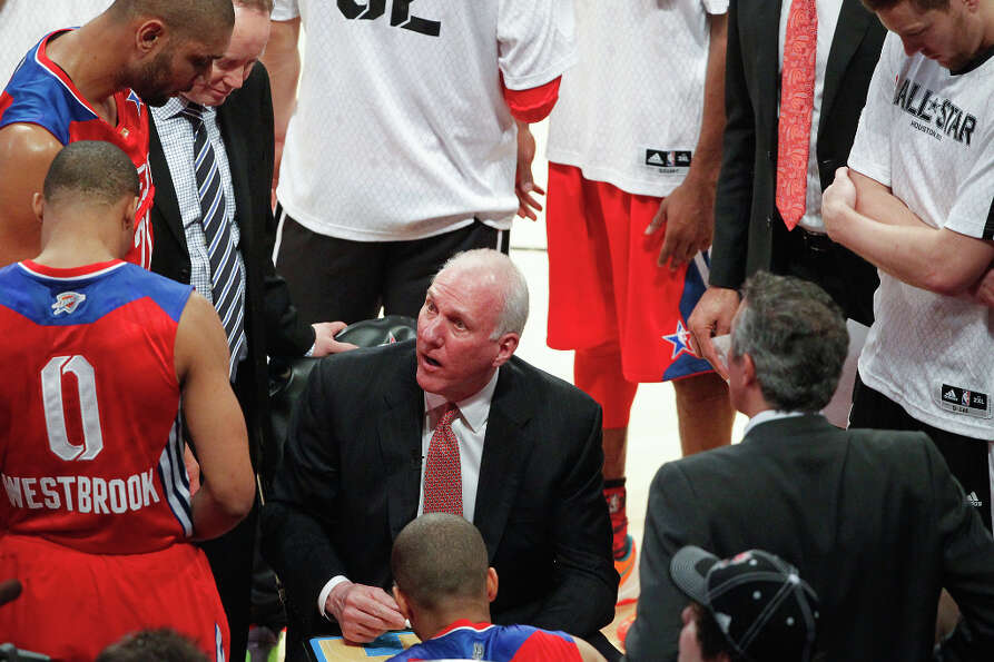 West head coach Gregg Popovich of the San Antonio Spurs huddles his team.
