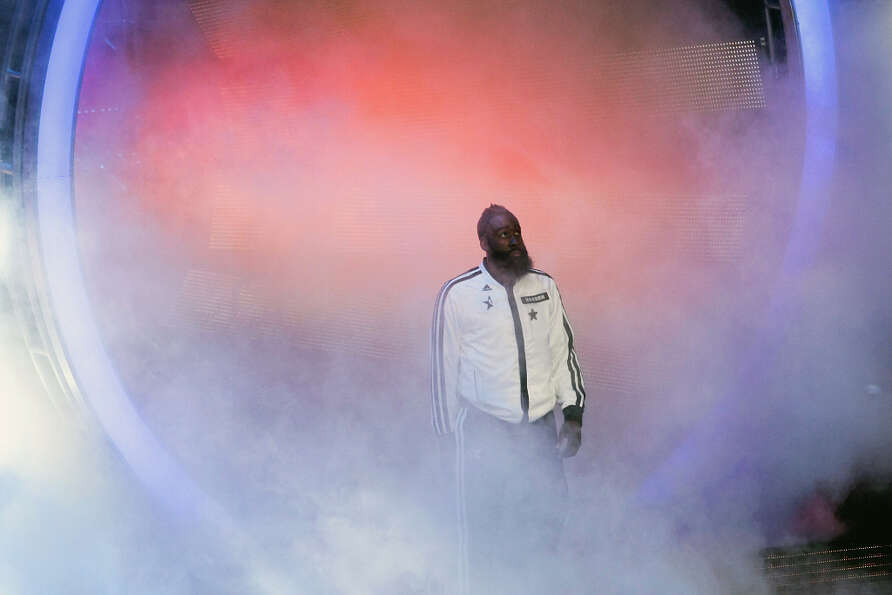 James Harden of the Houston Rockets is introduced before the game.