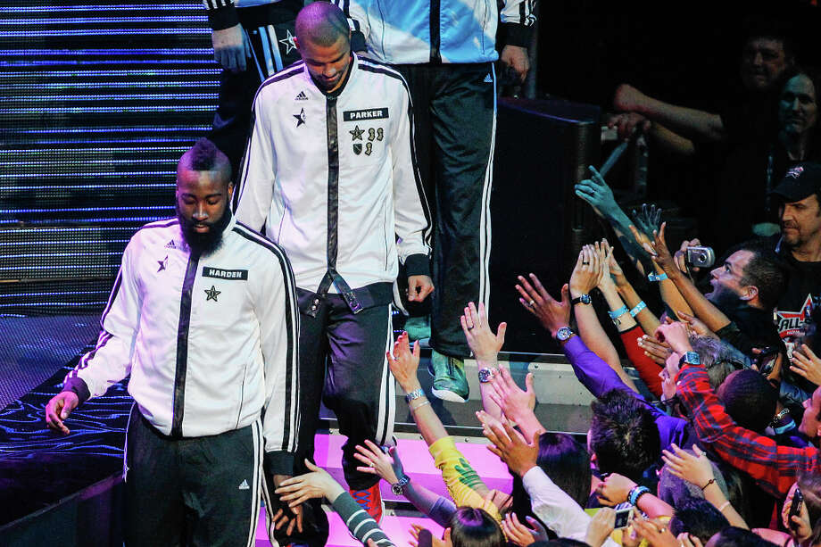 James Harden of the Houston Rockets is introduced before the NBA All-Star Game. Photo: Cody Duty, Houston Chronicle / © 2013  Houston Chronicle
