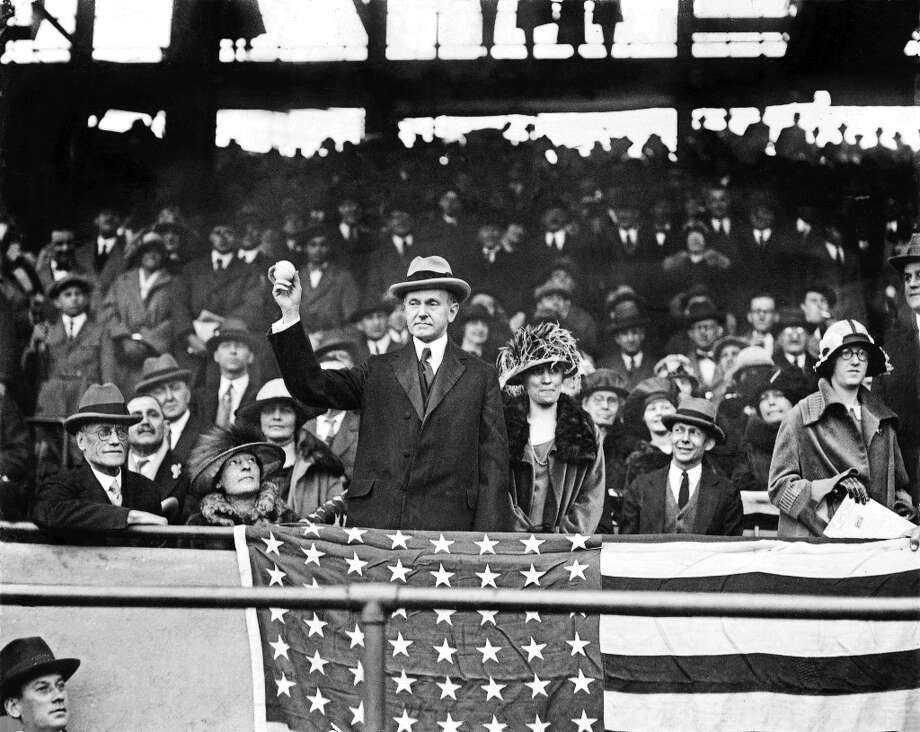 President Calvin Coolidge — in typically stoic Coolidge fashion — opens the season at Griffith Stadium before the 1924 game between the Washington Senators and the Athletics. Photo: NYT / NYTNS