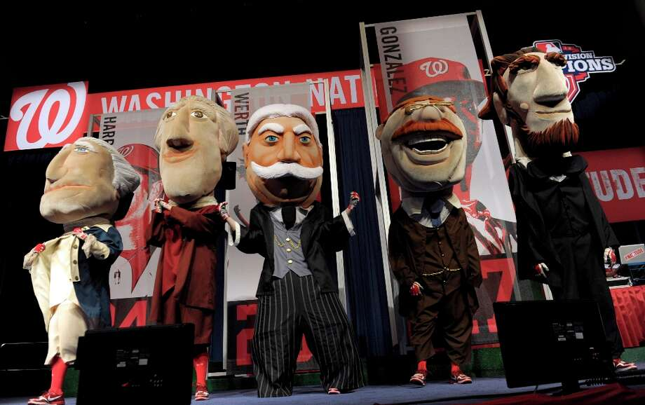 And the most important ballpark Presidents of all: the Washington Nationals' Presidents racers. They are, from left, George Washington, Thomas Jefferson, William Howard Taft (the latest addition to the lineup), Theodore Roosevelt and Abraham Lincoln. Photo: Susan Walsh, Associated Press / AP