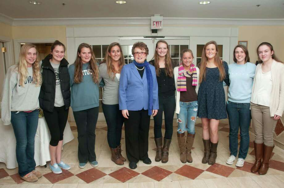 Tennis legend Billie Jean King, center, recently spoke at Atria Darien to a group of Darien High School athletes, including, from left, Lauren Rutledge, Samantha Mazzone, Taylor Hardison, Jenna Fritz, Kristie Gilbert, Lexi Perticone, Nicole Schmidt and Margot Sweeney. Photo: Contributed