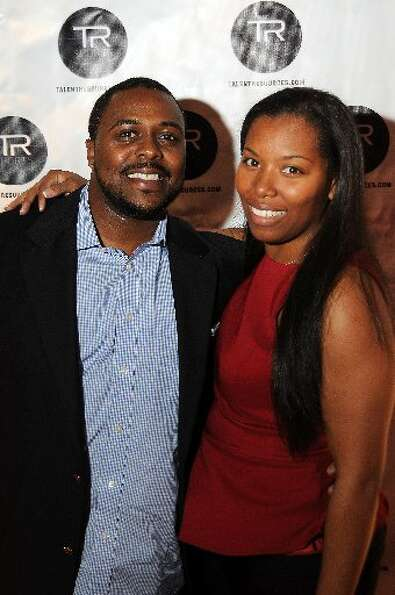 Michael Crozier and Briana Cunningham at a party hosted by Golden State Warrior David Lee at the Hud