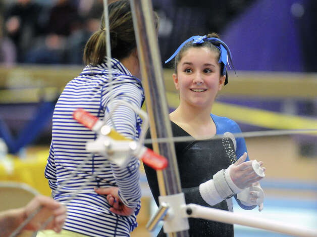 Fairfield Ludlowe's Nicole Huntsman smiles during the 2013 FCIAC Girls Gymnastics Championships at Westhill High School in Stamford, Saturday, Feb. 16, 2013. Photo: Bob Luckey / Greenwich Time