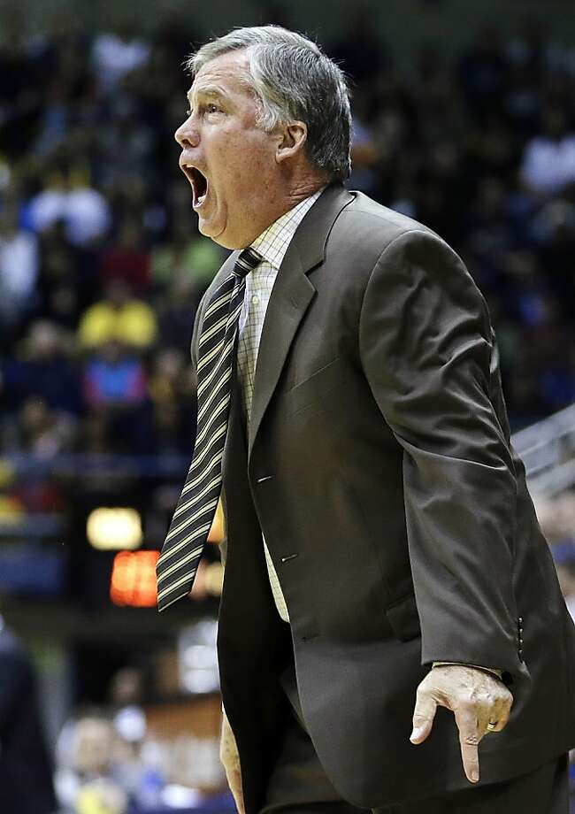 California head coach Mike Montgomery yells from the sidelines during the first half of an NCAA college basketball game against Southern California, Sunday, Feb. 17, 2013, in Berkeley, Calif. (AP Photo/Ben Margot) Photo: Ben Margot, Associated Press