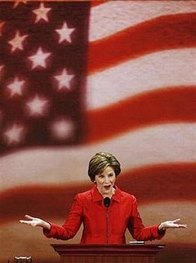 First lady Laura Bush speaks at the Republican National Convention in St. Paul, Minn., Tuesday, Sept. 2, 2008. Photo: Ron Edmonds, AP / AP