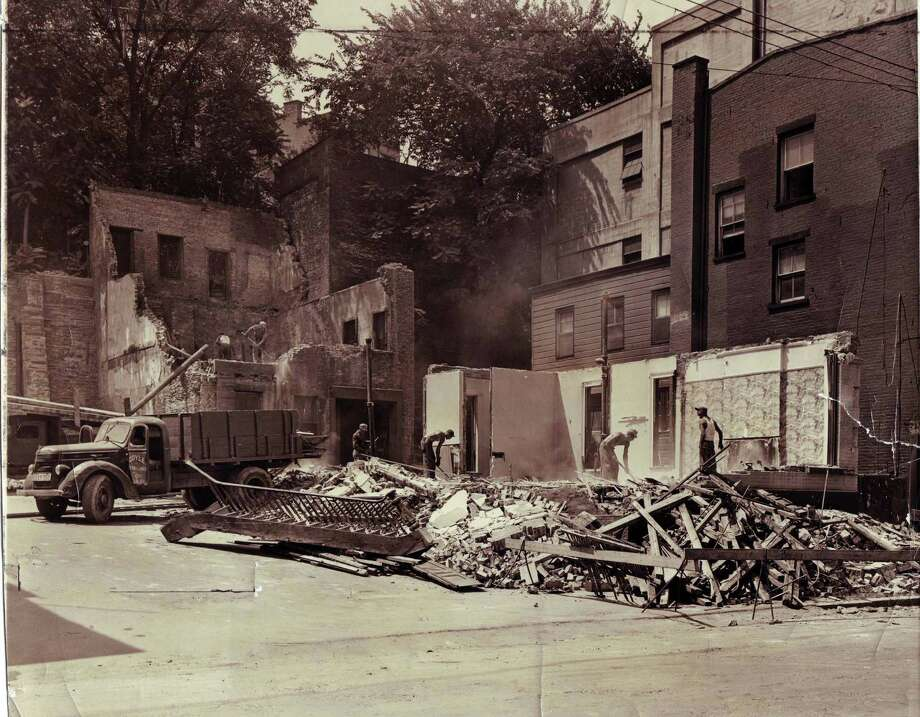 Photo courtesy of Albany Institute of History & Art -- Wrecking houses in preparation for new T.U. plant.