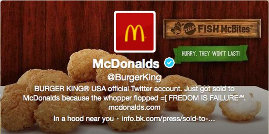 This frame grab taken Monday, Feb. 18, 2013, shows what appears to be Burger King's Twitter account after it was apparently hacked. Starting just after noon Eastern time on Monday, the fast-foot company's Twitter picture was changed to a McDonald's logo, and the account tweeted that it had been sold to rival McDonald's. (AP Photo) Photo: Associated Press / AP