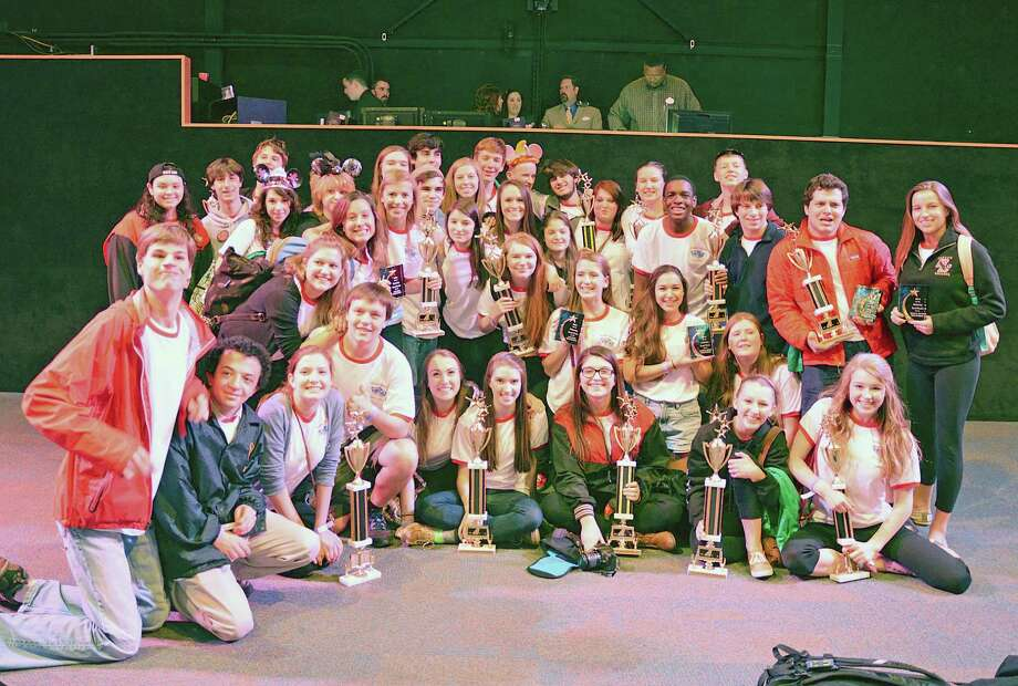 Thirty-nine students of New Canaan High School's theater program came home with an armful of trophies from the Musical Theatre Competitions of America in Anaheim, Calif. Photo: Contributed