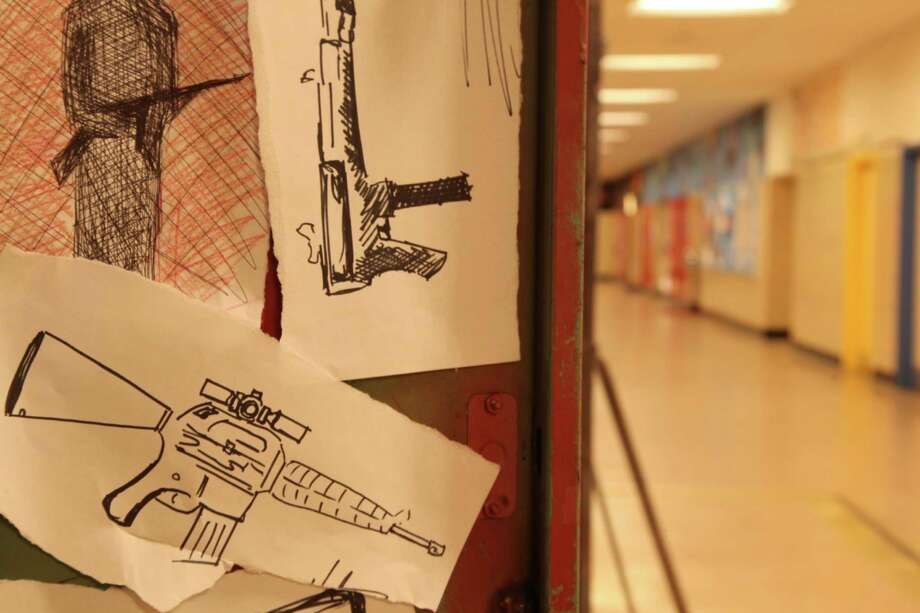 "The inside of a locker containing drawings of guns (re-enactment) in PBS', ""The Path to Violence."" Photo: Alex Jouve, Handout / ONLINE_YES"