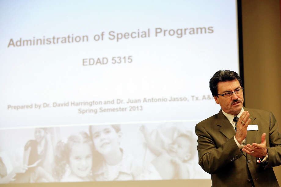 Southside Independent School District Superintendent Juan Antonio Jasso, Ph.D., speaks during the Administration of Special Programs class Monday Jan. 28, 2013. Photo: Edward A. Ornelas, San Antonio Express-News / © 2013 San Antonio Express-News