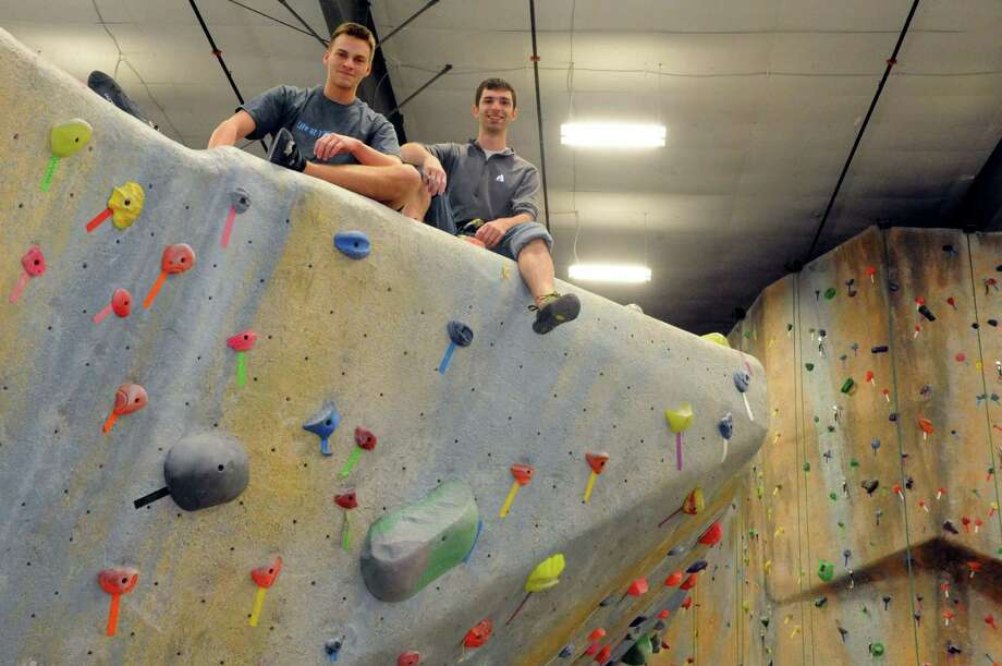 Rock climbers Gabe Messercola, left, and Ryan Wichelns at The Edge in Halfmoon, N.Y. Wednesday Jan. 9, 2013. (Michael P. Farrell/Times Union) Photo: Michael P. Farrell