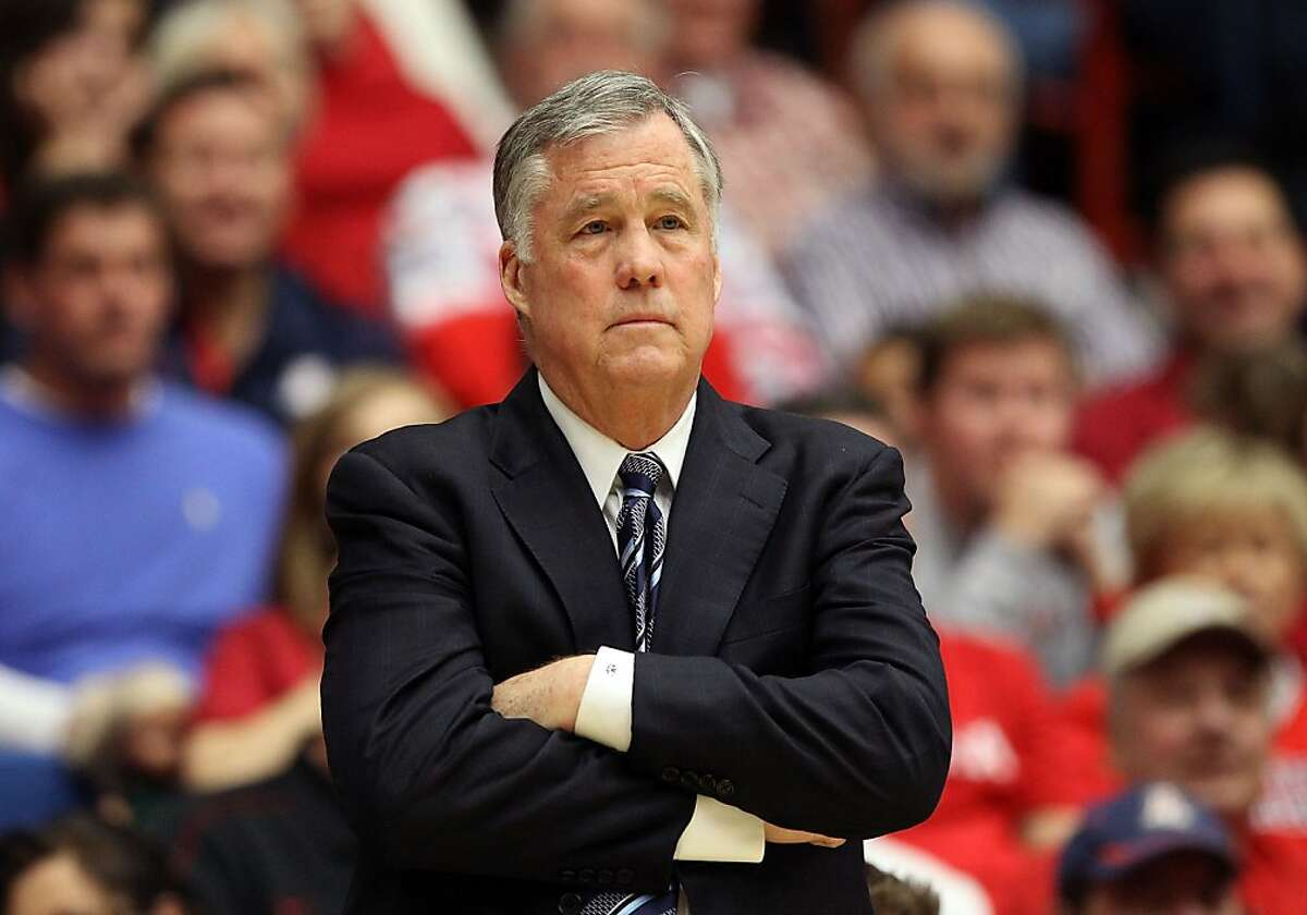 TUCSON, AZ - FEBRUARY 10: Head coach Mike Montgomery of the California Golden Bears reacts during the college basketball game against the Arizona Wildcats at McKale Center on February 10, 2013 in Tucson, Arizona. (Photo by Christian Petersen/Getty Images)
