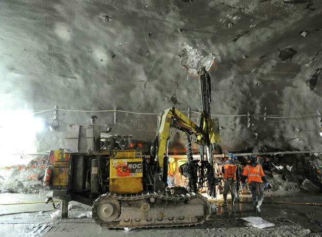 Tunnelling work that is part of the Metropolitan Transportation Authority's East Side Access Project, New York City, Tuesday, Jan. 29, 2013. The project will connect the Long Island Rail Road's (LIRR) Main and Port Washington lines in Queens to a new LIRR terminal beneath Grand Central Terminal in Manhattan. Photo: Bob Luckey / Greenwich Time