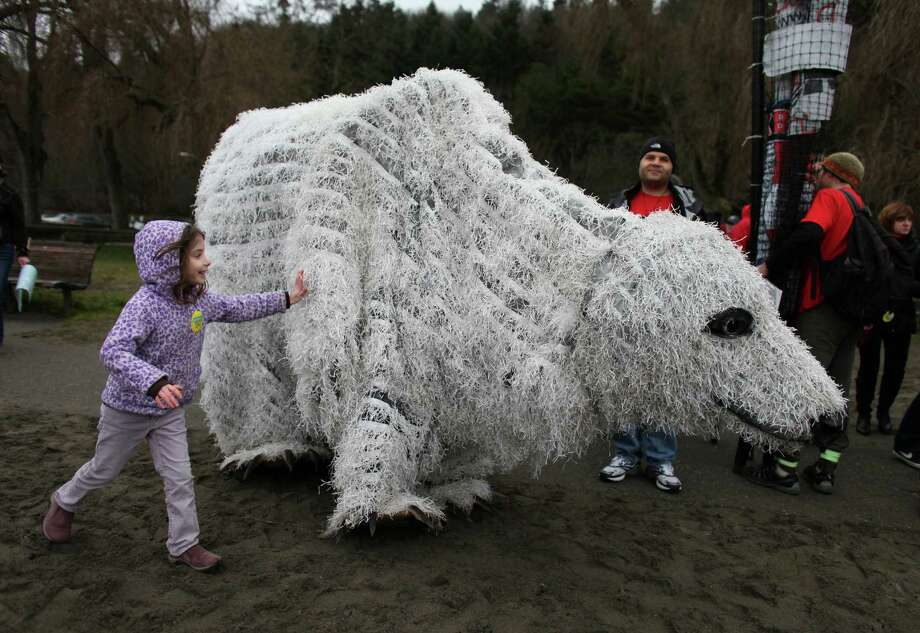 Hannah Ast, 6, chases down a polar bear puppet during a protest against proposed coal trains. Photo: JOSHUA TRUJILLO / SEATTLEPI.COM