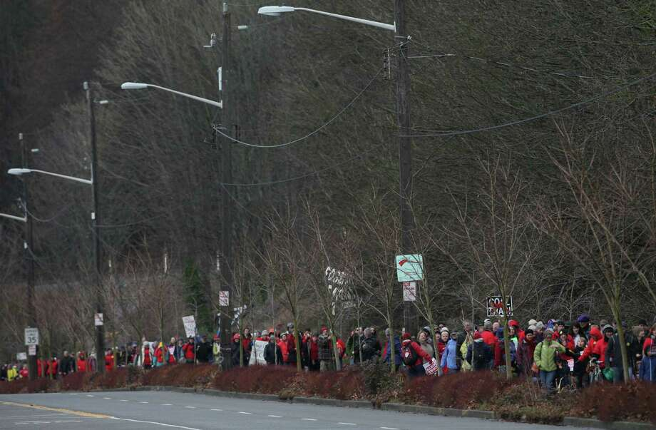 People march along the Burke-Gilman Trail during a protest against proposed coal trains. Photo: JOSHUA TRUJILLO / SEATTLEPI.COM