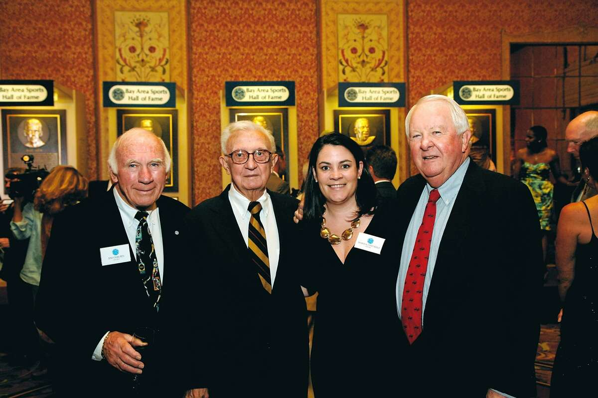 The 29th Annual Bay Area Sports Hall of Fame Enshirnement Banquet raised money for the Youth Fund, which provides sports equipment and uniforms to young athletes. Jim Osborn BASHOF Board member, Youth Fund Founder Lou Spadia, BASHOF Committee member Marina Costabile, and BASHOF President Tom Martz