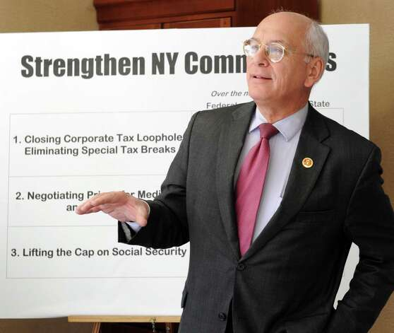 Congressman Paul Tonko talks during a press conference about federal sequestration at Townsend Park Homes on Central Ave. on Monday Feb. 18, 2013 in Albany, N.Y.  The Congressman along with capital district residents who spoke want to protect families and communities. They want to make corporations and the wealthy to pay their fair share of taxes.(Lori Van Buren / Times Union) Photo: Lori Van Buren