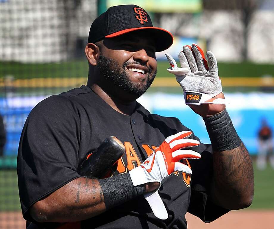 San Francisco Giants' infielder Pablo Sandoval waves to fans after hitting a home run during spring training Sunday, Feb. 18, 2013, in Scottsdale, Ariz. Photo: Lance Iversen, The Chronicle