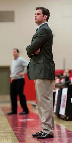 Mike Evans, New Canaan high school boys basketball head coach during a game against Greenwich high school played at New Canaan high school, New Canaan, CT on Monday February 18th, 2013. Photo: Mark Conrad / Stamford Advocate Freelance