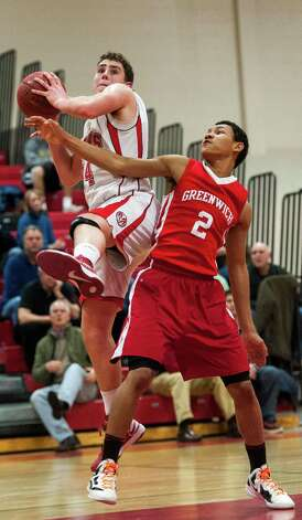 Greenwich high school against New Canaan high school in a boys basketball game played at New Canaan high school, New Canaan, CT on Monday February 18th, 2013. Photo: Mark Conrad / Stamford Advocate Freelance