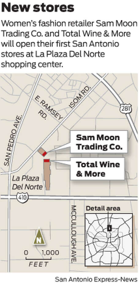 Women's fashion retailer Sam Moon Trading Co. and Total Wine & More will open their first San Antonio stores at La Plaza Del Norte shopping center. Photo: Mike Fisher