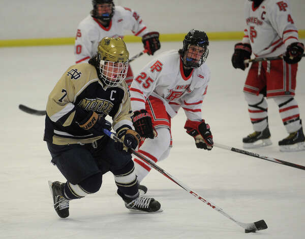 Notre Dame of Fairfield's Christian LaCroix races the puck up ice during the first period of their hockey matchup with Fairfield Prep at the Wonderland of Ice in Bridgeport on Monday, February 18, 2013. Photo: Brian A. Pounds / Connecticut Post