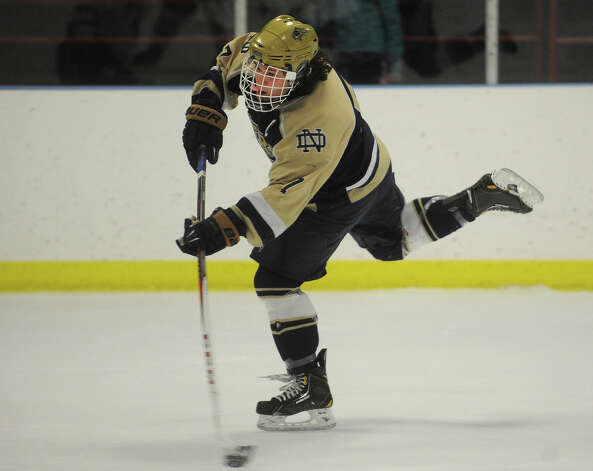 Notre Dame of Fairfield's Christian LaCroix fires a shot on goal during the second period of their hockey matchup with Fairfield Prep at the Wonderland of Ice in Bridgeport on Monday, February 18, 2013. Photo: Brian A. Pounds / Connecticut Post