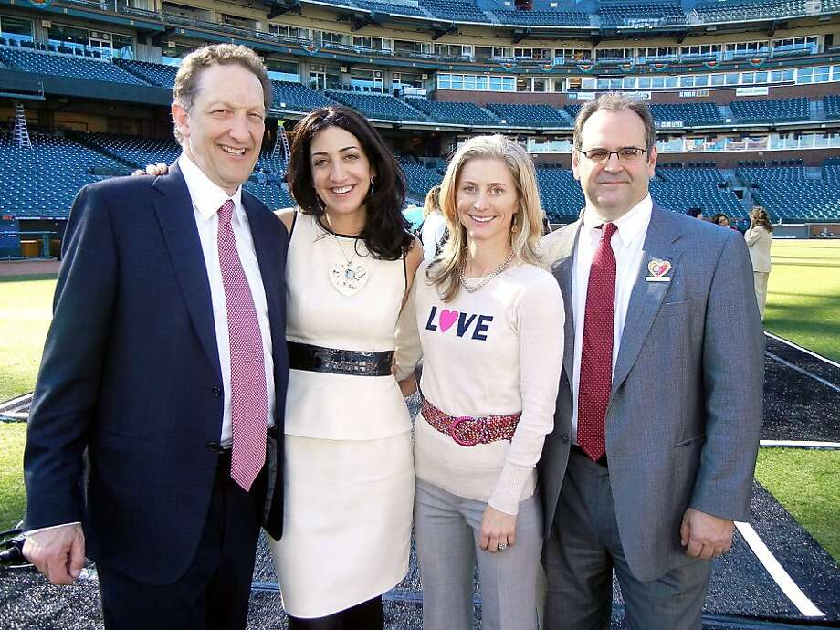 S.F. Giants President Larry Baer (left) with his wife, Pam Baer; Lisa Hauswirth; and Dr. Geoff Manley saw the lunch raise a record sum. Photo: Catherine Bigelow, Special To The Chronicle