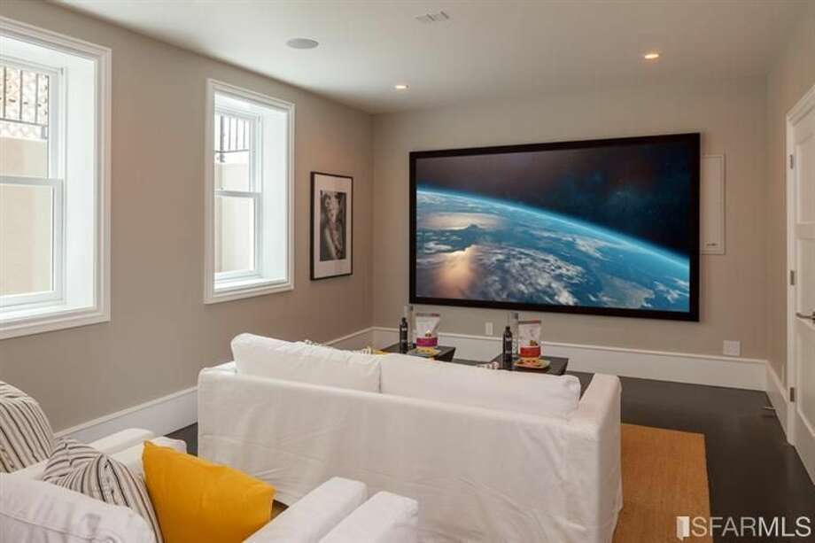 This is no shared condo screening room: It's the basement media room of a 6-bedroom, 6.5-bath home in Sea Cliff. But hold onto your $8 million: This property is pending sale, so unless you get invited by the new owners, you probably won't be able to hold an Oscar party here.