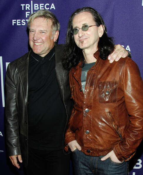 NEW YORK - APRIL 24:  Musicians Alex Lifeson and Geddy Lee of the band Rush attend the premiere of R