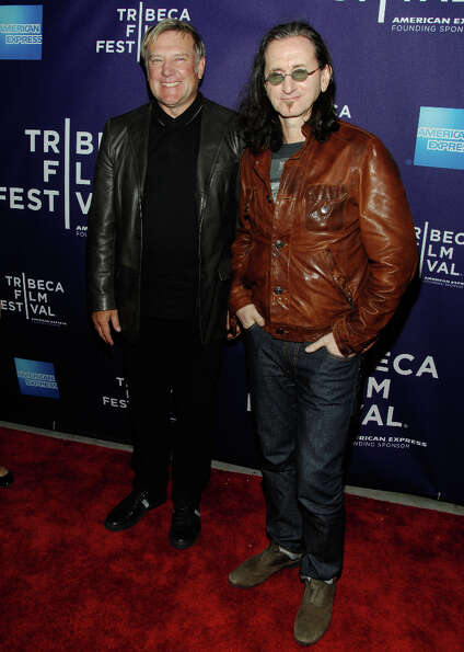 NEW YORK - APRIL 24:  Musicians Alex Lifeson and Geddy Lee of the band Rush attends the premiere of