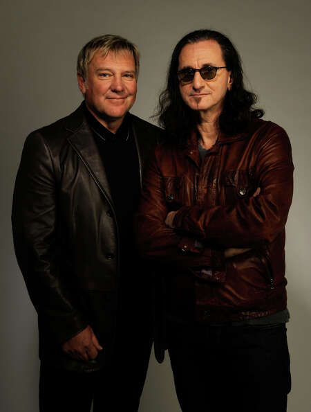 NEW YORK - APRIL 24:  Musicians Alex Lifeson and Geddy Lee from the band Rush attend the Tribeca Fil