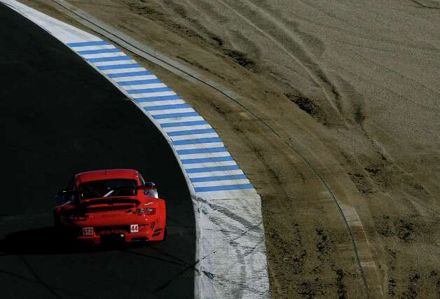 Darren Law drives the #44 Flying Lizard Motorsports Porsche 911 GT3 RSR during the American Le Mans Series Monterey Sports Car Championship at the Mazda Raceway Laguna Seca October 20, 2007 in Monterey, California. Photo: Darrell Ingham, Getty Images / 2007 Getty Images