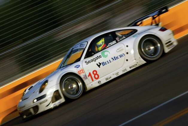 The #18 Rahal Letterman Racing Porsche 911 GT3 RSR driven by Ralf Kelleners and Tom Milner competes in the American Le Mans series Lone Star Grand Prix at Reliant Park on April 21, 2007 in Houston, Texas. Photo: Christian Petersen, Getty Images / 2007 Getty Images