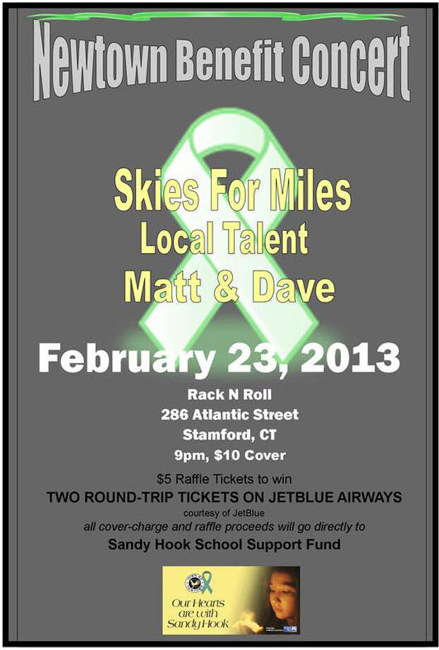 Several Fairfield County-based bands will come together for a concert to benefit the Sandy Hook School Support Fund, on Saturday, Feb. 23, 2013, at Rack N Roll in Stamford, Conn. The performances kick off at 9 p.m. There will be a $10 cover and raffle. For more information, visit http://www.facebook.com/SkiesForMiles. Photo: Contributed Photo