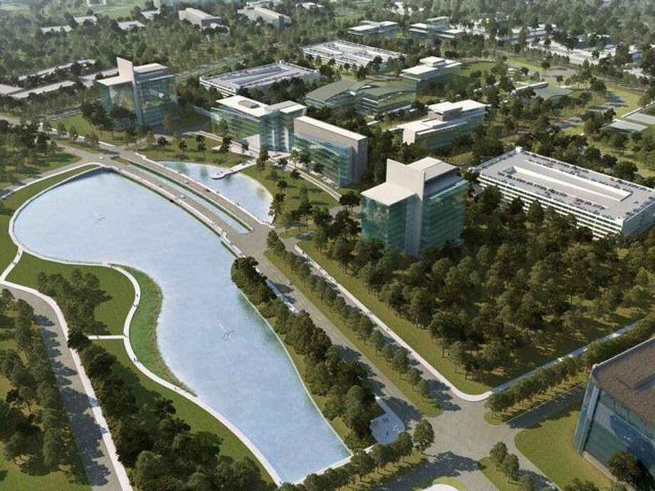 A rendering of the Lake District Causeway displays part of  Generation Park in the Lake Houston area. The master-planned commercial development will be divided into different districts, some with an urban feel, others with parks and green space. Photo: Generation Park
