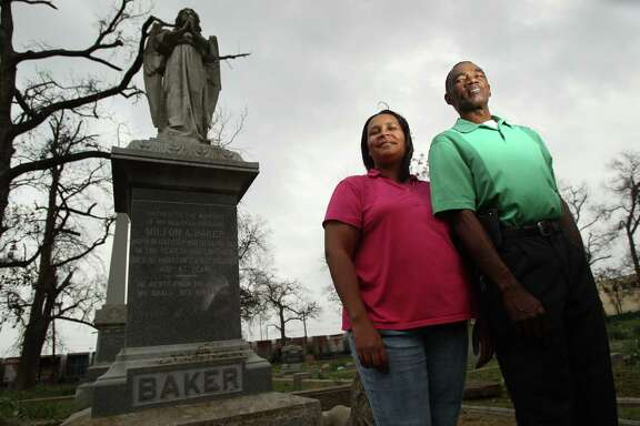Volunteers Margott Williams and Charles Cook are the force behind restoration of Olivewood Cemetery, Houston's oldest African-American graveyard.