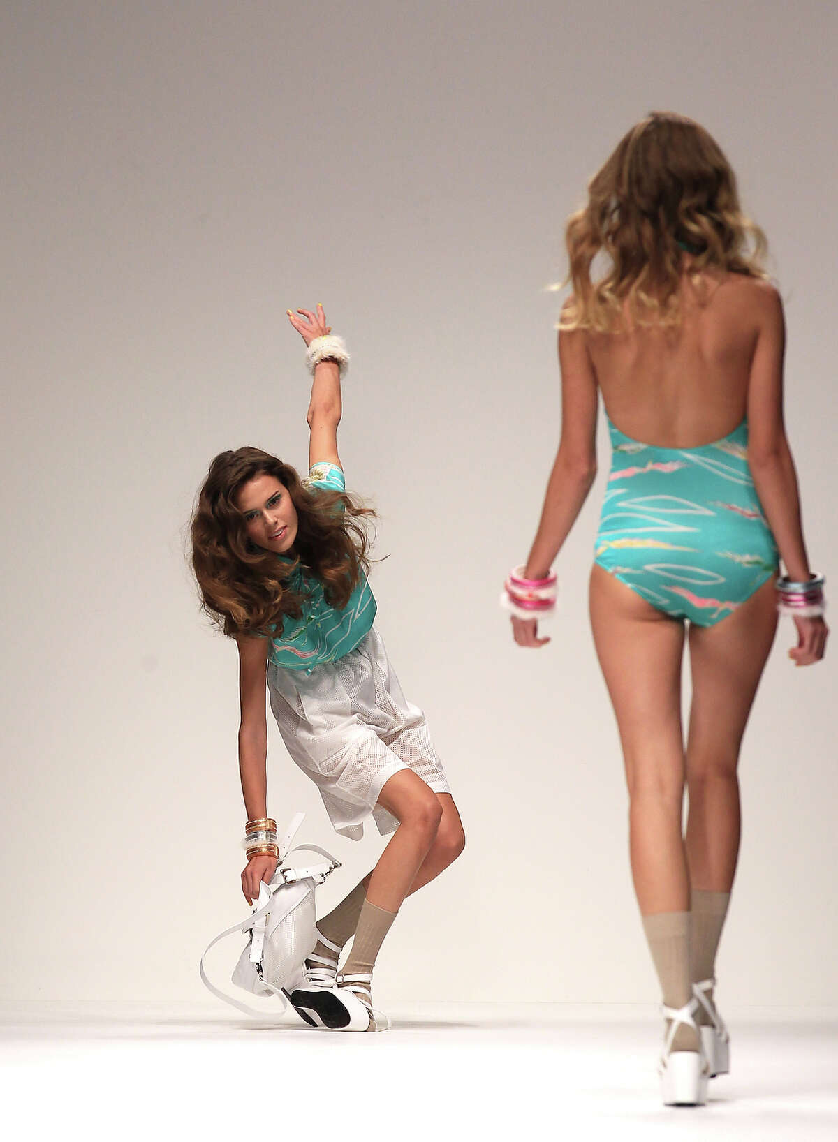A Model Falls On The Catwalk During The Betty Jackson Fashion Show, Held At The Bfc Venue As Part Of London Fashion Week Spring/Summer 2011.