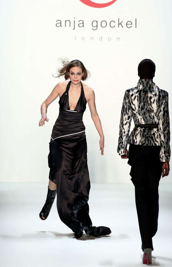 BERLIN - JANUARY 21:  A model stumbles on the runway at the Anja Gockel Fashion Show during the Mercedes-Benz Fashion Week Berlin Autumn/Winter 2010 at the Bebelplatz on January 21, 2010 in Berlin, Germany. Photo: Andreas Rentz, Getty Images / 2010 Getty Images