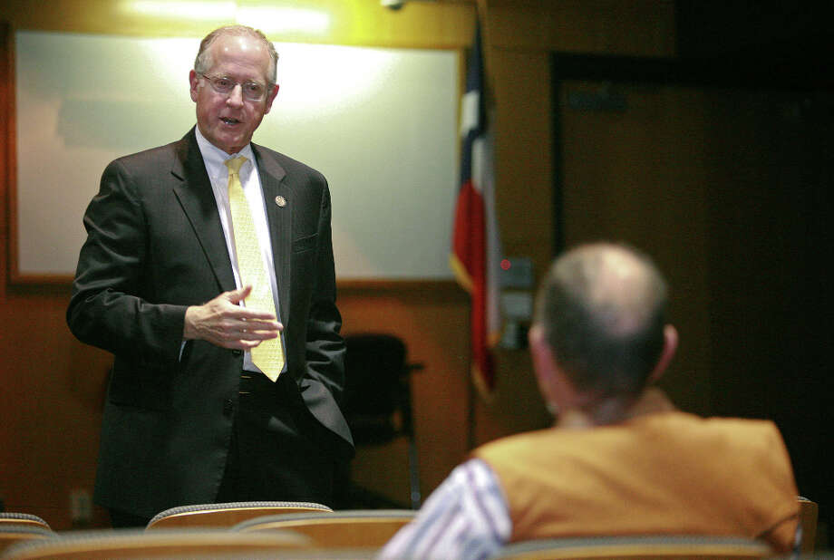U.S. Rep. Mike Conaway answers Guy Reed's question in regards to the proposed balance budget amendment Wednesday during a town hall meeting at the CEED building. Cindeka Nealy/Reporter-Telegram Photo: Cindeka Nealy, Midland Reporter-Telegram / Cindeka Nealy/Reporter-Telegram