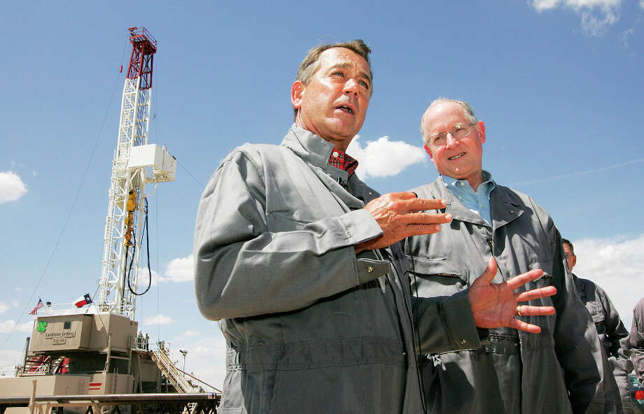 U.S. House Speaker John Boehner, left, responds to questions Tuesday after he and Rep. Mike Conaway toured the Faskin Oil and Ranch drilling rig, located off of County Road 40 near F.M. 1788 in Midland County. Conaway is giving Boehner a tour of independent oil operations so that he can see the importance of hydraulic fracturing. Cindeka Nealy/Reporter-Telegram Photo: Cindeka Nealy, Midland Reporter-Telegram / Cindeka Nealy/Reporter-Telegram