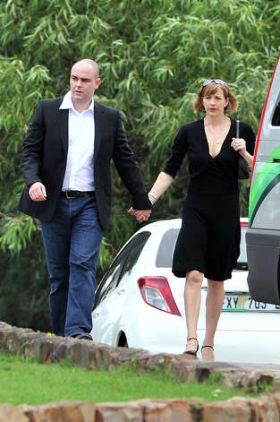 Adam Steenkamp and his wife Victoria gather for Reeva Steenkamp's memorial on February 19, 2013 in Port Elizabeth, South Africa. Steenkamp was allegedly murdered by boyfriend, Oscar Pistorius on February 14, 2013. Pistorius, who has been charged with the murder, is appearing in court today for his bail hearing. Steenkamp's emmorial is being held at the The Victoria Park Crematorium. Photo: Gallo Images, Getty Images / 2013 Gallo Images (PTY) LTD