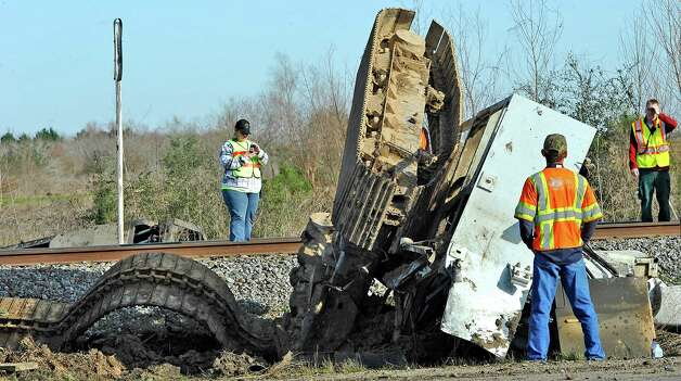 The Jefferson County Sheriff's Office and Union Pacific Railroad officials are at the scene of an accident on U.S. 90 in the area of China, where a train struck a loaded  18-wheeler. There is one reported death from the crash and the wreck happened at about 8 a.m. as the 18-wheeler with three construction workers were headed to a job site. The truck's trailer got stuck on the tracks, and two men tried to free the trailer while the third remained in the truck. The train struck the truck, killing one of the men outside the truck. The man inside the truck was taken by medical helicopter to Christus St. Elizabeth Hospital and is currently in critical condition. The third man was not injured.  Attempts to avoid debris in the road by passing vehicles resulted in a second wreck with two other vehicles. There were no injuries from that wreck.    Dave Ryan/The Enterprise