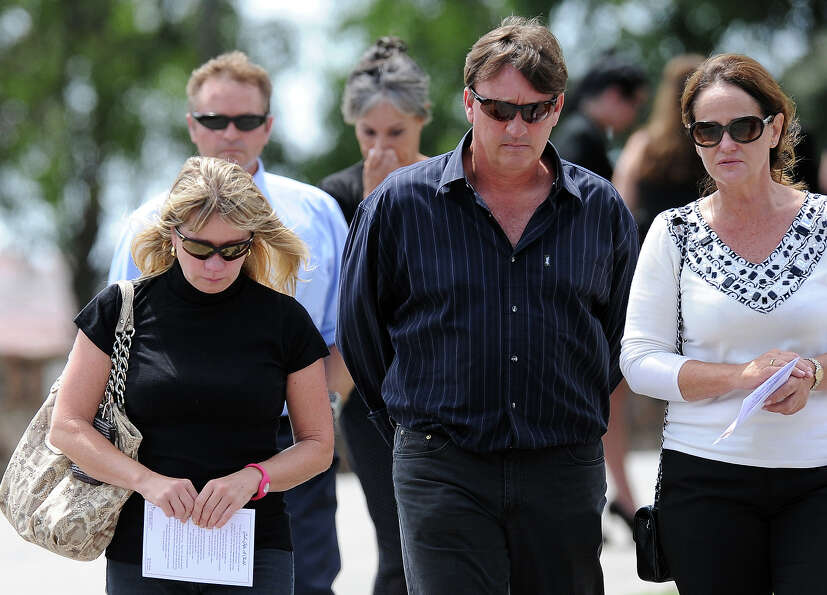 Relatives and friends of late South African model Reeva Steenkamp gather for the funeral ceremony at