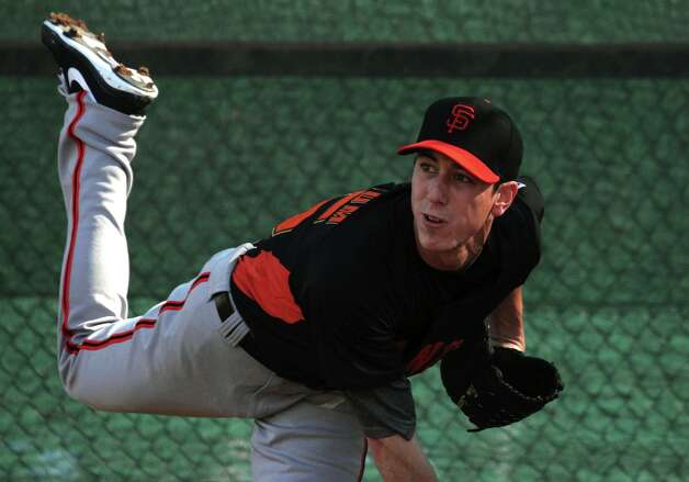 San Francisco Giants pitcher Tim Lincecum throws during spring training Monday, Feb. 18, 2013, in Scottsdale, Ariz. Photo: Lance Iversen, The Chronicle / ONLINE_YES