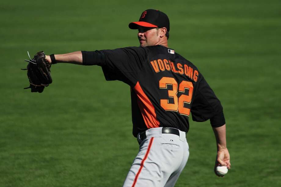 Ryan Vogelsong throws during warm ups at spring training Monday, Feb. 18, 2013, in Scottsdale, Ariz. Photo: Lance Iversen, The Chronicle / ONLINE_YES
