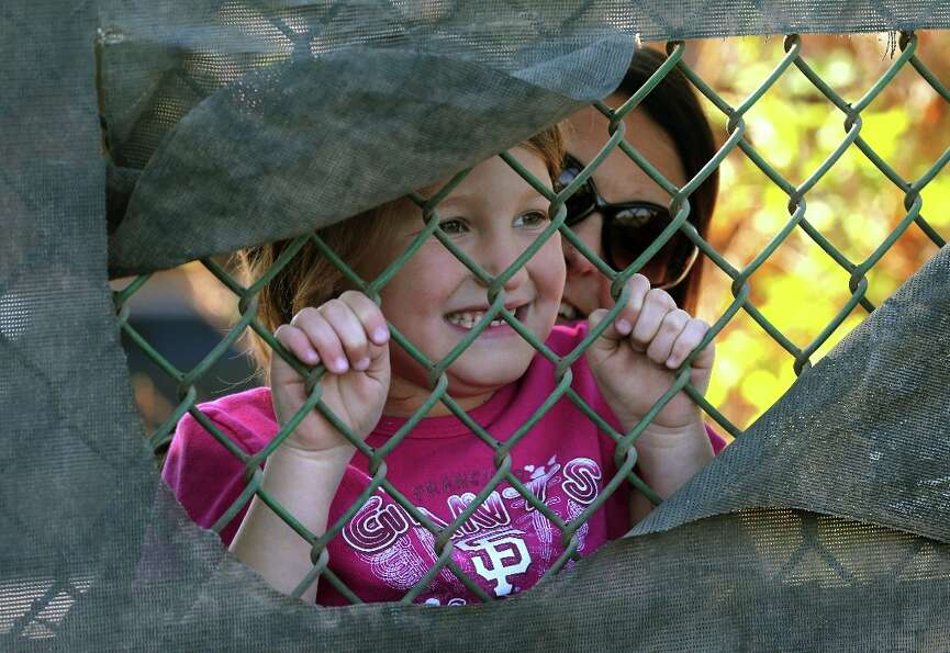 Seven-year-old San Francisco Giants fan McKenna Alvarado from Mesa, Ariz., gets help reaching a hole