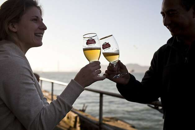 People enjoyed beers from Stella Artois for the San Francisco Chronicle Wine Competition at Fort Mason in San Francisco, Calif., Saturday, February 16, 2013. Photo: Jason Henry, Special To The Chronicle