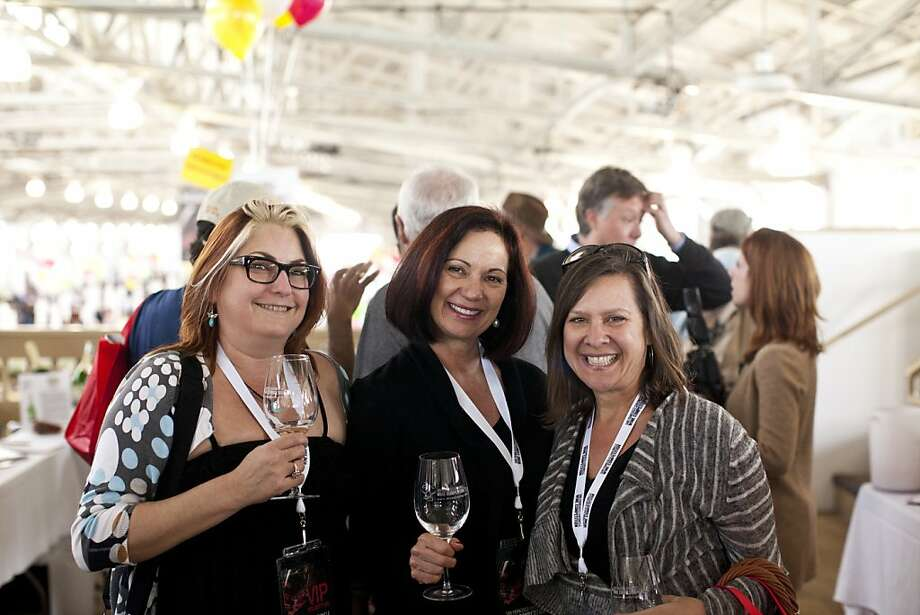Joan Rosenberg, Erica Simpson, and Karen Schneider at the San Francisco Chronicle Wine Competition at Fort Mason in San Francisco, Calif., Saturday, February 16, 2013. Photo: Jason Henry, Special To The Chronicle